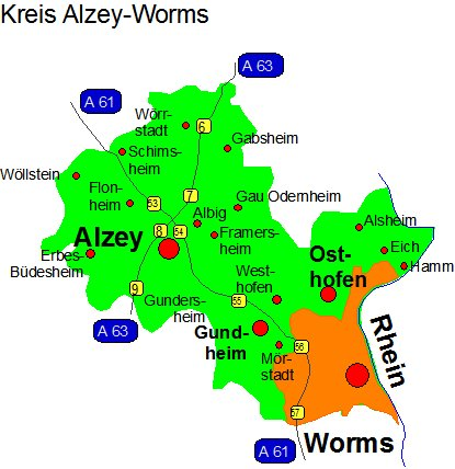 Lage in Alzey-Worms